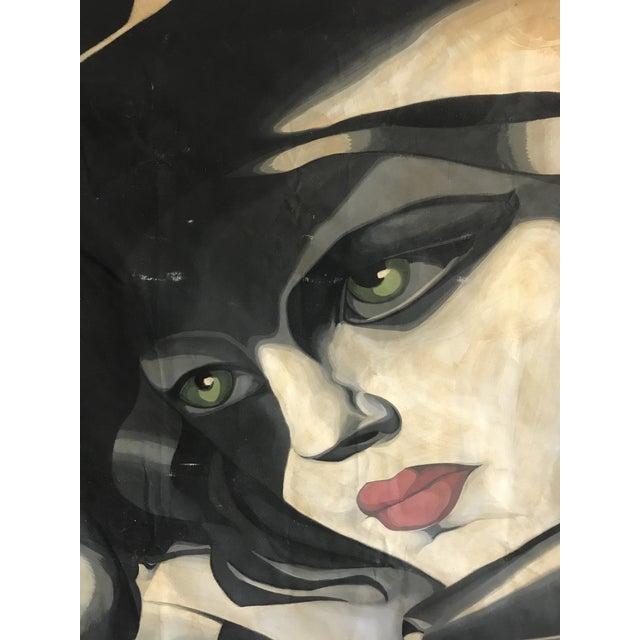 Large Scale 1980s Painting in Style of Tamara De Lempicka For Sale - Image 4 of 9