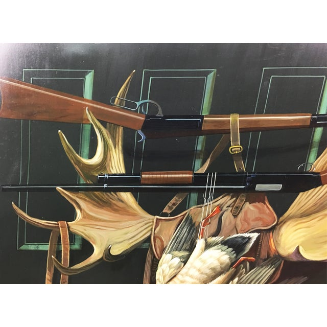 Americana Duck Hunting & Rifles Tromp' l'Oil Painting For Sale - Image 3 of 5
