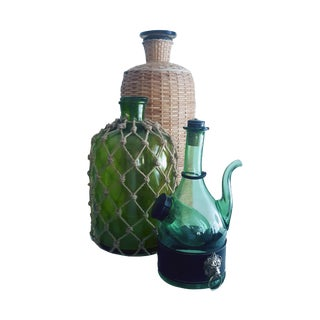 1960s Italian Ballard Cane and Jute Wrapped Demijohn Wine Cooler Decanter - Set of 3 For Sale