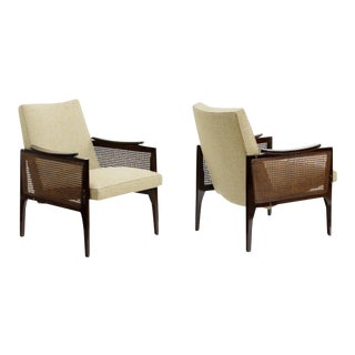 Maurice Jallot Pair of Refined Caned Arm Chair Attributed For Sale