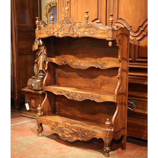 19th Century French Louis XV Carved Walnut Estanier Shelf For Sale - Image 4 of 10