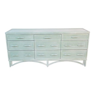 Green Painted Wicker and Ratan Dresser