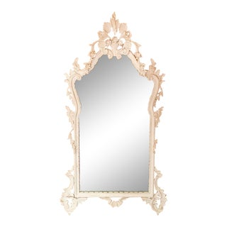 Mid Century Ornate Carved Wood Mirror For Sale