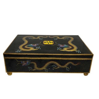 Chinese Cloisonne Elaborate Footed Box With Dragons For Sale