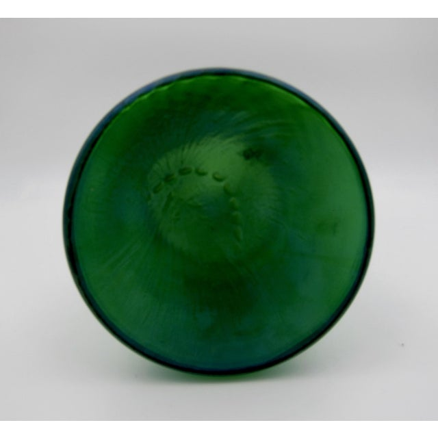 Large Iridescent Green Art Glass Vase With Art Nouveau Maiden Metal Mount For Sale - Image 9 of 13