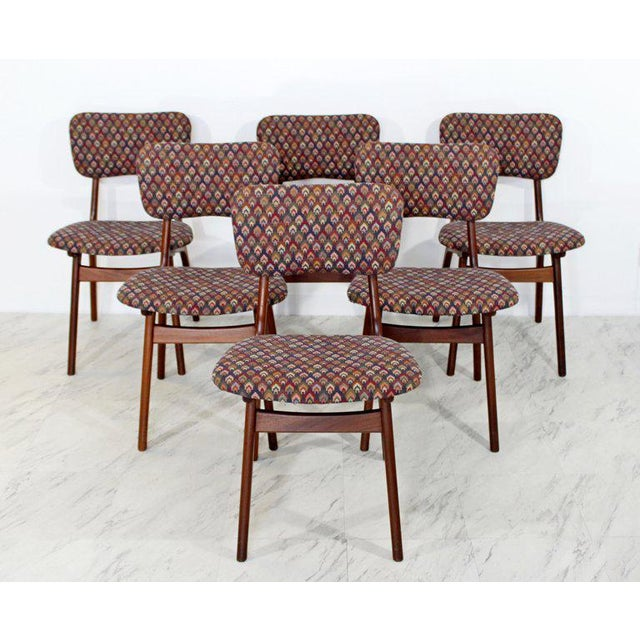For your consideration is a set of six, teak, side dining chairs, designed by Arne Hovmand Olsen by Silkeborg, made in...