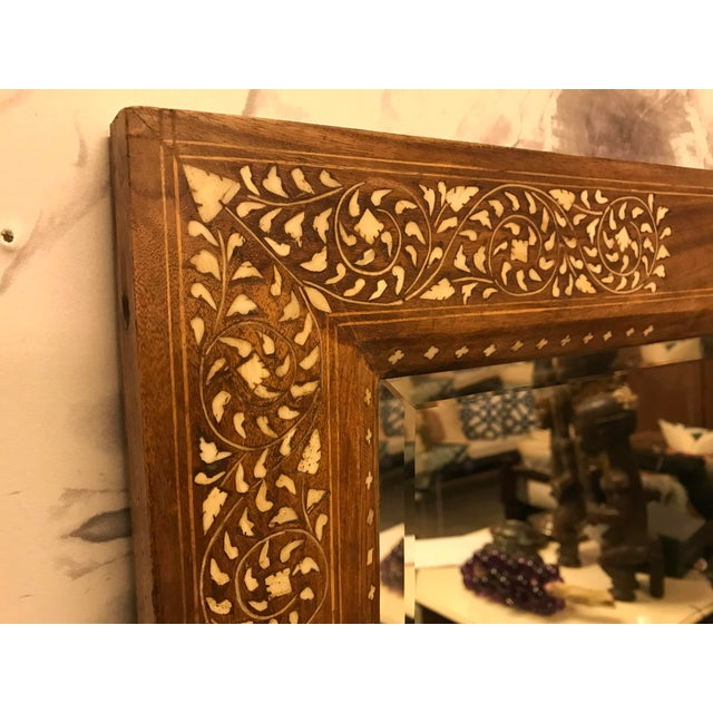 Large Teak Mirror With Bone Inlay For Sale - Image 4 of 7