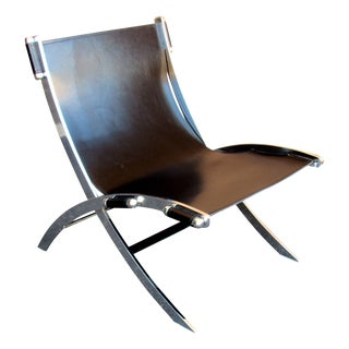 Paul Tuttle Mid-Century Modern Black Leather Sling Chair, 1960s For Sale