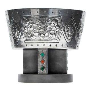 Japanese Sterling Silver Centerpiece Pedestal Bowl by Hattori Kintaro For Sale