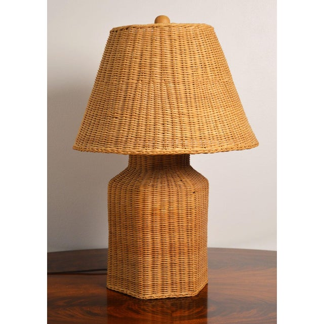 Vintage Wicker Lamp and Shade For Sale - Image 9 of 9