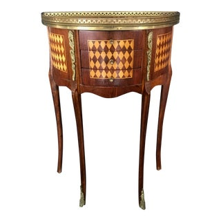 1940s French Diamond Marquetry Side Table or Nightstand For Sale