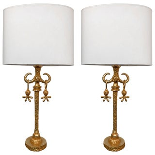 Pair of Gilt Bronze Lamps by Nicolas Dewael for Fondica, France, 1990s For Sale