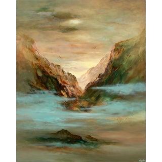 Circa 1995 Surrealist Landscape Oil Painting by Gary Kremen For Sale