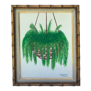1978 Vintage Hanging Fern Gold Bamboo Framed Painting For Sale