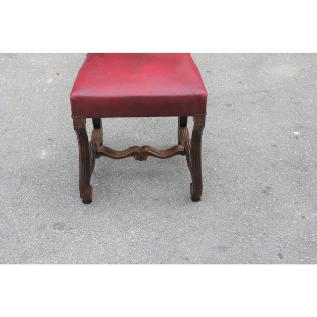 French Louis XIII Style Os De Mouton Red Leather Dining Chairs - Set of 6 For Sale - Image 9 of 13