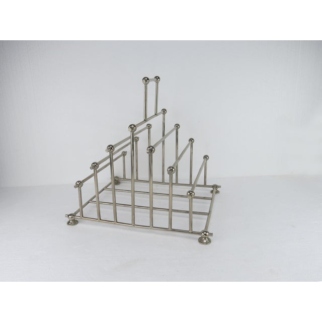 Chrome 1970s Art Deco Inspired Architectural Chrome Magazine Holder/Rack For Sale - Image 8 of 10