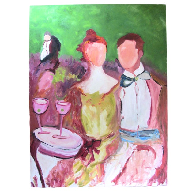 """""""Faceless Revelers"""" Oil on Canvas Painting - Image 1 of 6"""