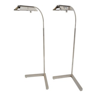 Vintage Casella Floor Lamps Adjustable and Nickel Plated - a Pair For Sale