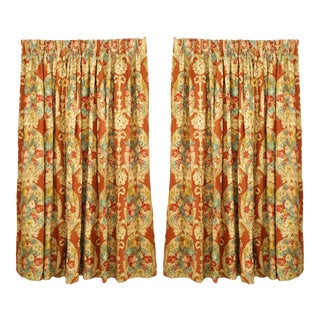 Printed Linen Floral Drapes For Sale