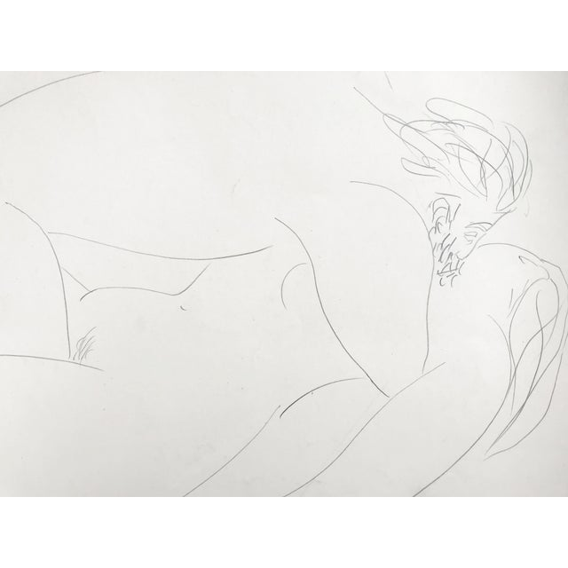 Vintage French Abstract Erotic Nude Pencil Drawing Paris 1951 For Sale - Image 4 of 6
