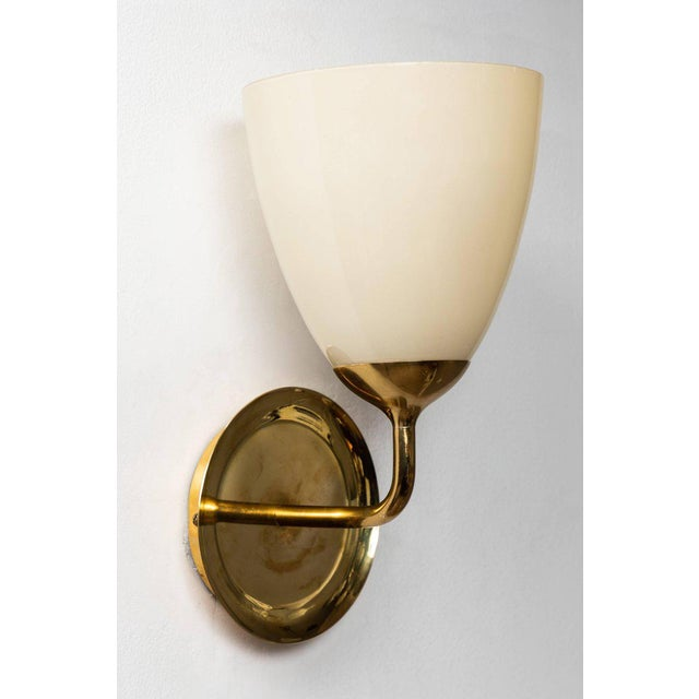 1950s 1950s Scandinavian Modern Paavo Tynell for Taito Oy Glass and Brass Sconces - a Pair For Sale - Image 5 of 13