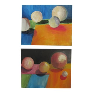 Abstract Spheres Acrylic Paintings - Set of 2 For Sale
