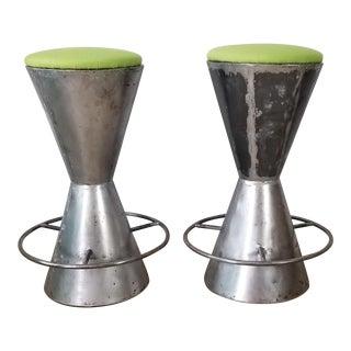 Vintage Handmade Drum Shape Steel Bar Stools - a Pair . For Sale