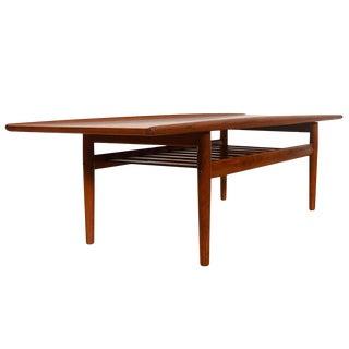 Grete Jalk Danish Teak Surfboard Coffee Table W/ Shelf For Sale