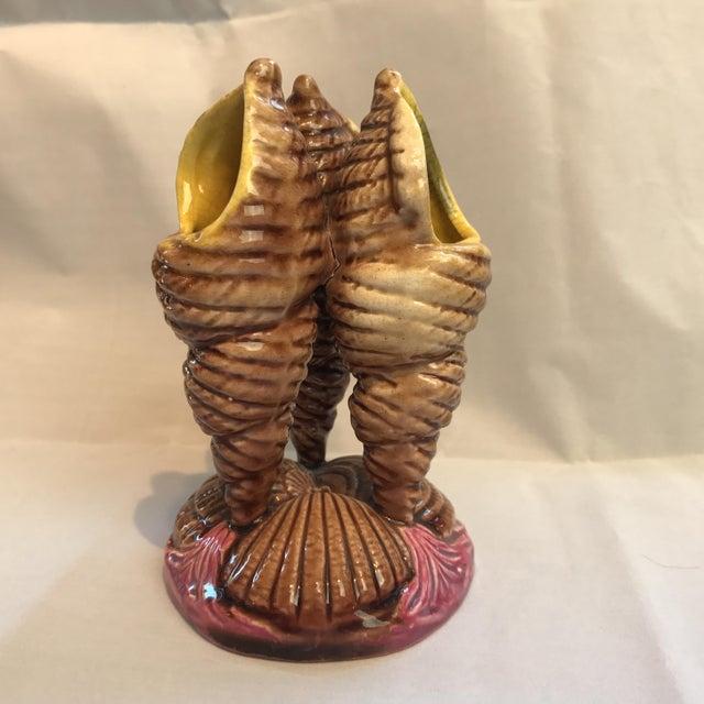 English majolica shell vase. Small chip on edge. No makers mark.
