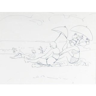 1930s Vintage Jane Peterson Figures With the Sun Umbrellas on the Beach Drawing For Sale