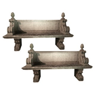 1900s Antique Cast Stone Long Benches- a Pair For Sale