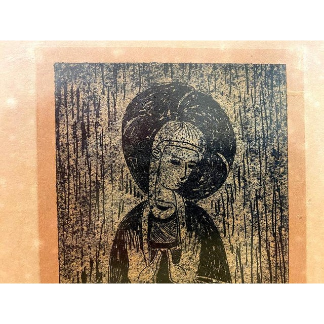 Traditional Antique Rubbing, Mother of God, Framed For Sale - Image 3 of 5