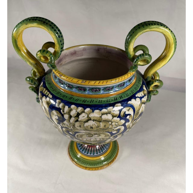 Blue Vintage Italian Majolica Two-Handled Urn For Sale - Image 8 of 12