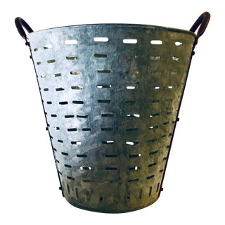 Industrial Perforated Zinc + Rust Handled Basket For Sale