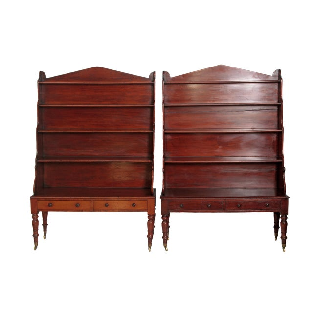 Pair of English Regency Dwarf Waterfall Bookcases For Sale