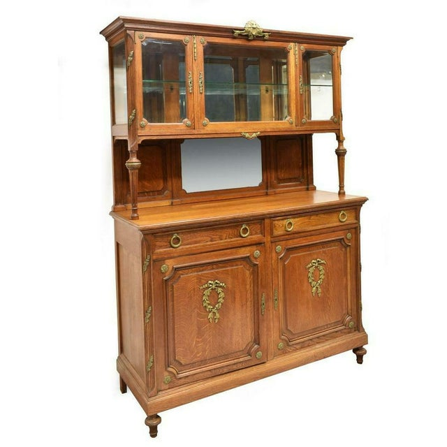 1900's Antique French Oak Display Cabinet For Sale In Austin - Image 6 of 6
