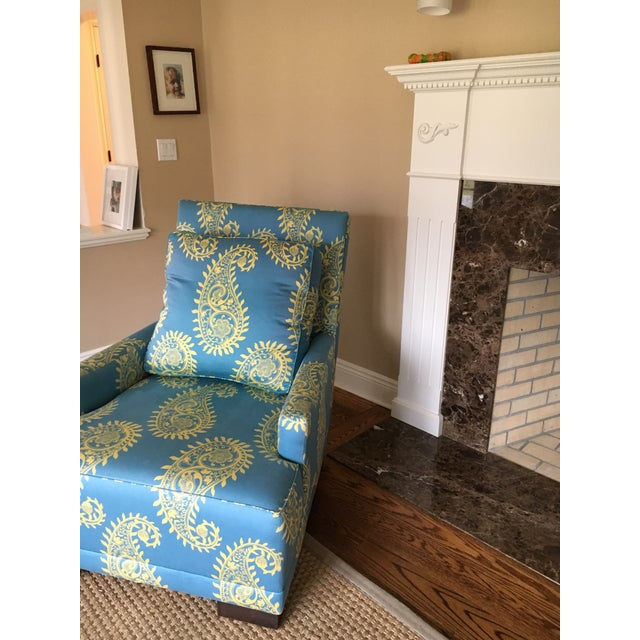 Blue Paisley Silk Upholstered Club Chair - Image 4 of 4