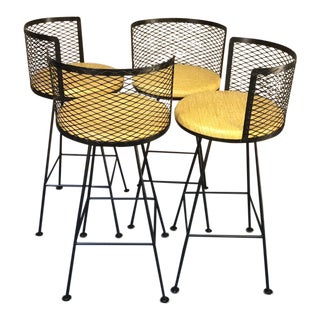 1950s Vintage Metal Back Iron Barstools - Set of 4 For Sale