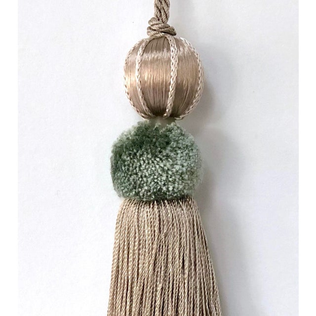"""2020s Sage & Taupe Beaded Key Tassel - 4.5"""" For Sale - Image 5 of 8"""