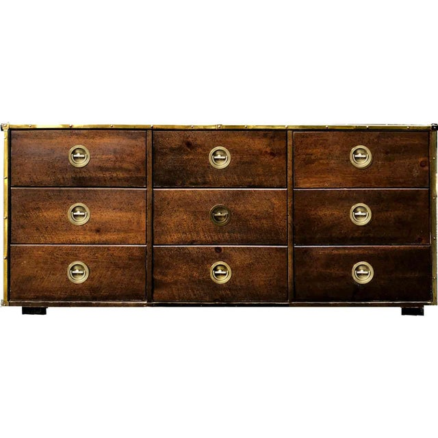 Mid Century Bassett Furniture Nautical Campaign Chest With Brass Trim For Sale - Image 9 of 10