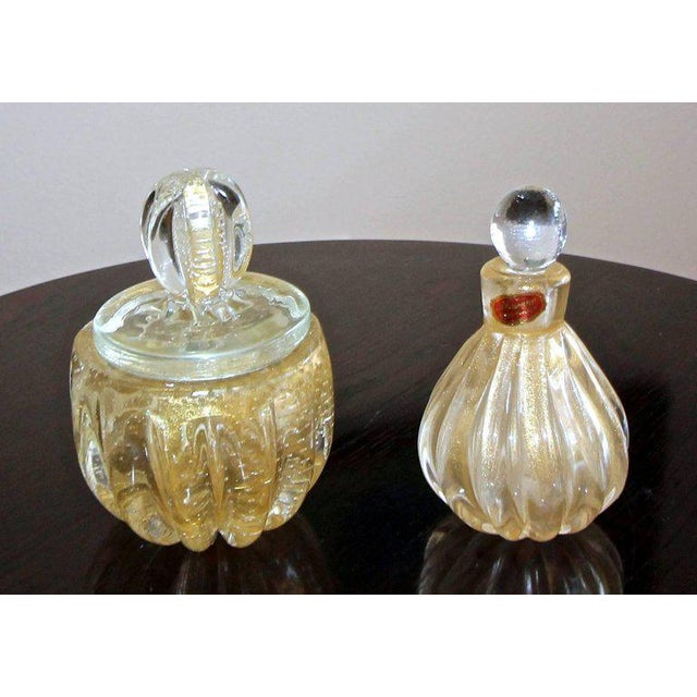 Murano Gold Controlled Bubbles Perfume Bottle & Lidded Powder Jar For Sale - Image 9 of 10
