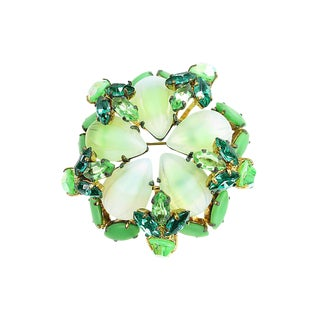 Austrian Green Art Glass & Crystal Brooch, 1950s For Sale