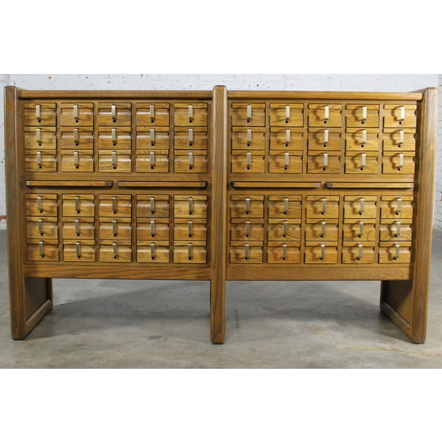 Vintage Oak 60 Drawer Library Card Catalog Cabinet - Image 2 of 12 - Vintage Oak 60 Drawer Library Card Catalog Cabinet Chairish