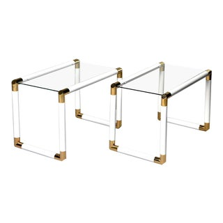 Pair Mid Century Glass Topped Tables With Brass and White Metal Tubular Frames For Sale