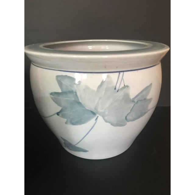 Pair of Chinese Blue & White Ceramic Leaf Planters For Sale - Image 10 of 13