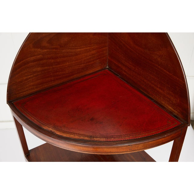 Mahogany Corner Wash Stand With Red Leather Top For Sale - Image 10 of 11