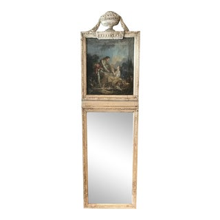18th Century French Louis XVI Painted Console and Matching Trumeau Mirror For Sale