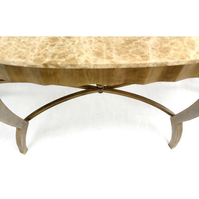 Metal Ovesize Art Deco Silver Leaf with Marble-Top Demilune Console Table For Sale - Image 7 of 10
