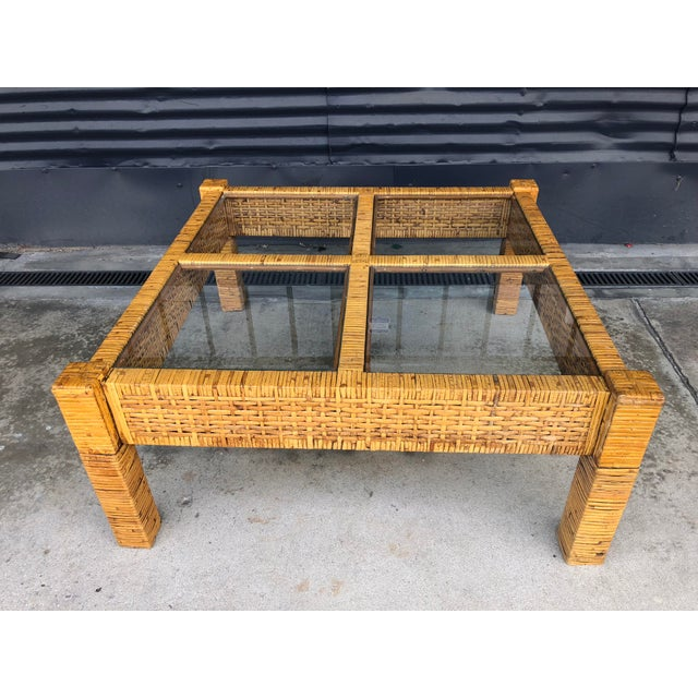Boho Chic Vintage Wrapped Rattan Billy Baldwin Style Coffee Table For Sale - Image 3 of 13