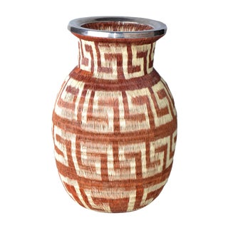 Native American Style Hand Woven Vase For Sale